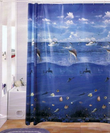 Diver Shower curtain Ocean